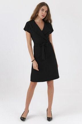 Jument Kadın Siyah Madlen Şal Yaka Düşük Omuzlu Kiloş Elbise  6393