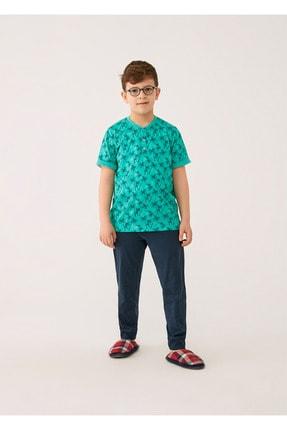 Dagi Yeşil O Yaka Pamuk Palmiye Empirme Altı Ribana Erkek Çocuk Kısa Kol Pijama Takımı
