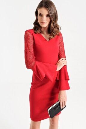 Kadın Kırmızı Scuba Dantel Garnili V Yaka Kolları Dantelli Volanlı Elbise 50013
