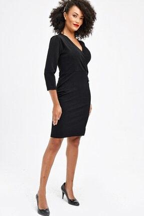 Jument Simli Düğme Detaylı Kapri Kol Anvelop Ofis Şık Elbise - Siyah