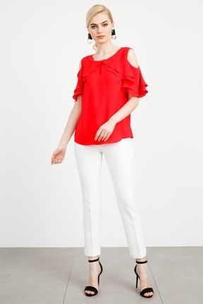 Moda İlgi Modailgi Omuz Açık Kol Fırfırlı Volanlı Bluz Mercan