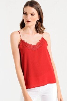 Jument Kadın Kırmızı Cobe Çizgili Yakası Dantelli İp Askılı Bluz 7088