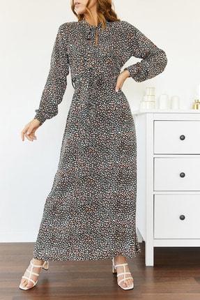 Xhan Kadın Siyah Yakası Bağlamalı Elbise 0yxk6-43499-02