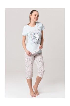 YOYOSO 12300 Kedi Desen 2 Li Capri Tshirt Set
