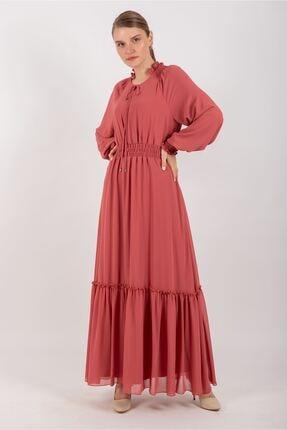Puane Beli Lastikli Şifon Elbise Astarlı Mercan -pn12137