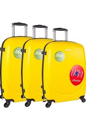 Laguna Pvc Valiz Bavul Seti Unisex Sarı