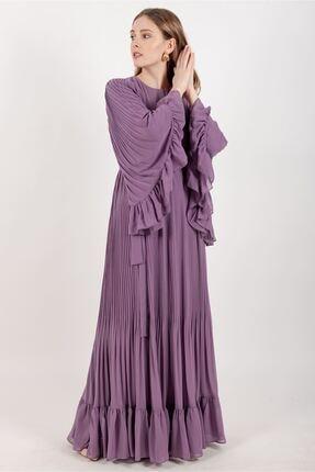Puane Kadın Pileli Şifon Elbise Astarlı Lila -pn12142
