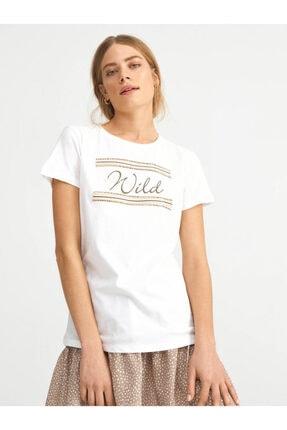 XINT Kadın T-shirt Pamuklu Baskılı Rahat Kesim