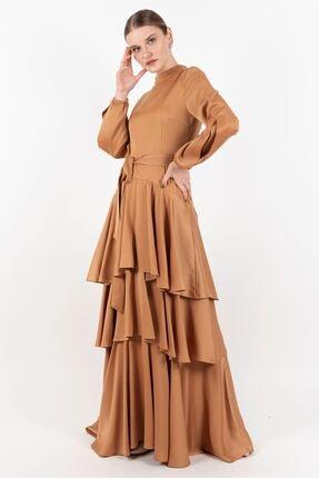 Puane Elbise Hardal -pn12144