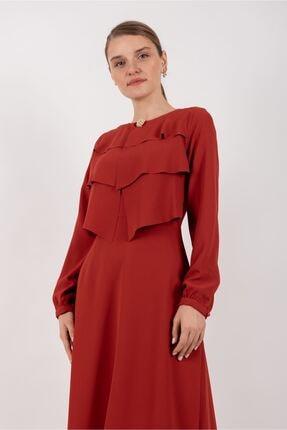 Puane Broşlu Maksi Elbise Astarlı Kırmızı -pn12156