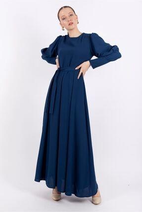 Puane Kadın Indigo Pileli Maksi Astarlı Elbise -pn12159