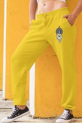 Angemiel Wear Yoga Yapan Kız Motifleri Sarı Kadın Eşofman Altı