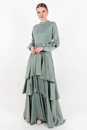 Puane Elbise Mint Yeşili -pn12144