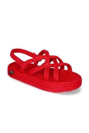 NOMADIC REPUBLIC Bodrum Platform Kadın Halat & İp Sandalet - Kırmızı