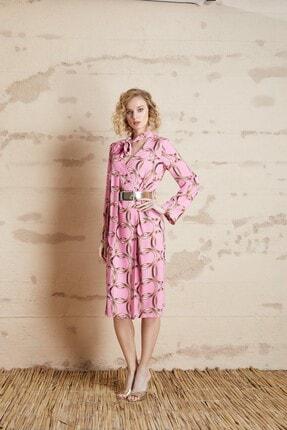 Serpil Zincir Desenli Fularlı Elbise