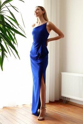 TrendyolMilla Saks Büzgü Detaylı Abiye & Mezuniyet Elbisesi TPRSS20AE0274
