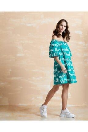 Serpil Kadın Yeşil Büzgülü Elbise 32066