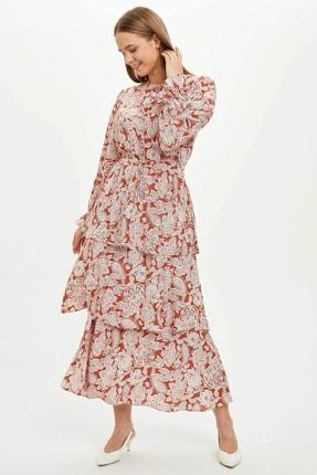 DeFacto Kadın Turuncu Desen Detaylı Fırfırlı Dokuma Elbise R4117Az.20Sm.Br341