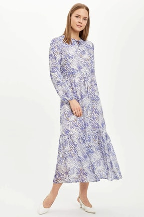 DeFacto Kadın Mavi Desenli Dokuma Elbise R6319Az.20Sp.Be18