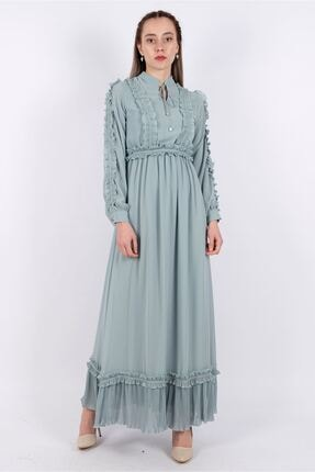 Puane Kadın Mint Yeşili Kuşaklı Şifon Astarlı Elbise -pn12136