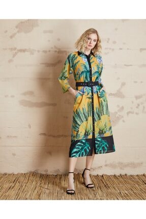 Serpil Yaprak Desenli Elbise