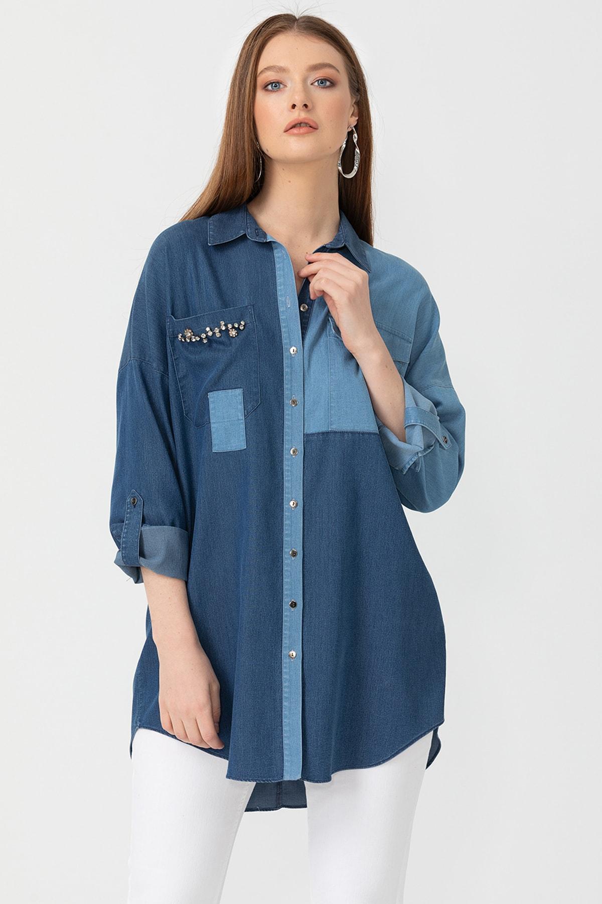 Seçil Kadın İndigo Taş Detaylı Renk Geçişli Denim Gömlek 10100120204245