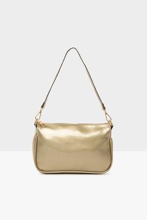 Bagmori Altın Kadın Rugan Fitilli Baget Çanta M000004526