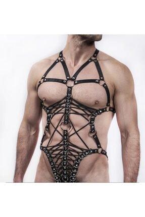 Siyah Seksi Lasitk Erkek Vücut Harness - Apftm68 APFTM68