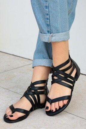 Mio Gusto Kadın Linda Siyah Kafesli Sandalet