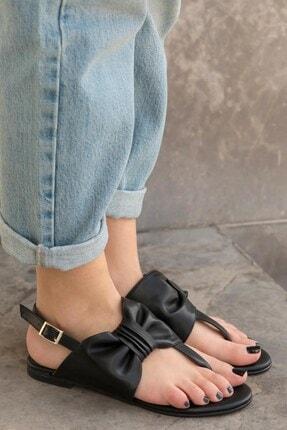 Mio Gusto Kadın Papillon Siyah Fiyonklu Sandalet
