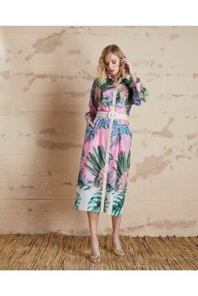 Serpil Kadın Fuşya Yaprak Desenli Elbise 32148