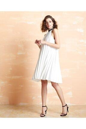 Serpil Kadın Bej Piliseli Midi Elbise 32717