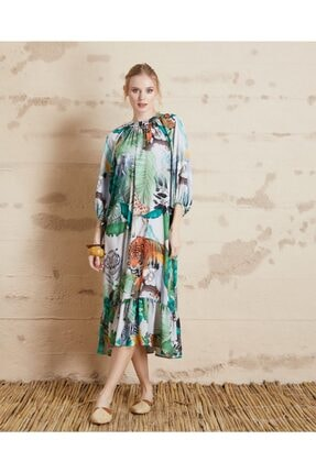 Serpil Kadın Gri Baskılı Saten Elbise 32290