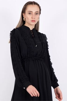 Puane Kuşaklı Şifon Elbise Astarlı Siyah -pn12136