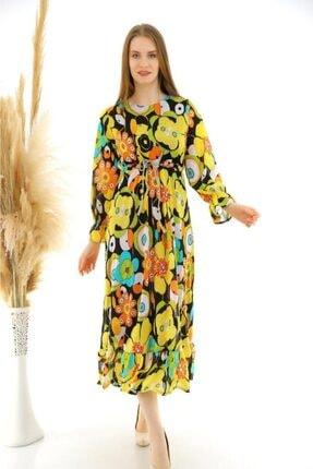 Ecce Sarı Desenli Iç Astar Likralı Airobin Kumaş Elbise
