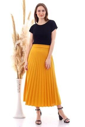 Cotton Mood 9072693 Mira Pliseli Beli Lastikli Uzun Etek Hardal