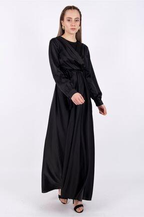 Puane Kadın Kuşaklı Saten Elbise Astarsız Siyah -pn12143