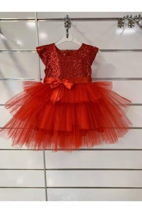 Kırmızı Payetli Tül Elbise kırmızı payetli tül elbise
