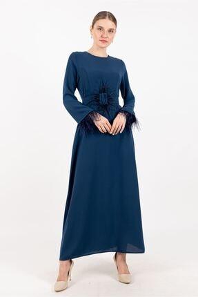 Puane Peluş Detaylı Kemerli Elbise Astarsız Indigo -pn12167