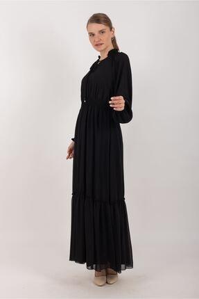 Puane kadın Beli Lastikli Şifon Elbise Astarlı Siyah -pn12137