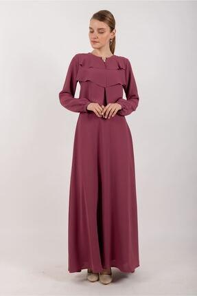 Puane Broşlu Maksi Elbise Astarlı Rose -pn12156