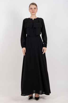 Puane Broşlu Maksi Elbise Astarlı Siyah -pn12156