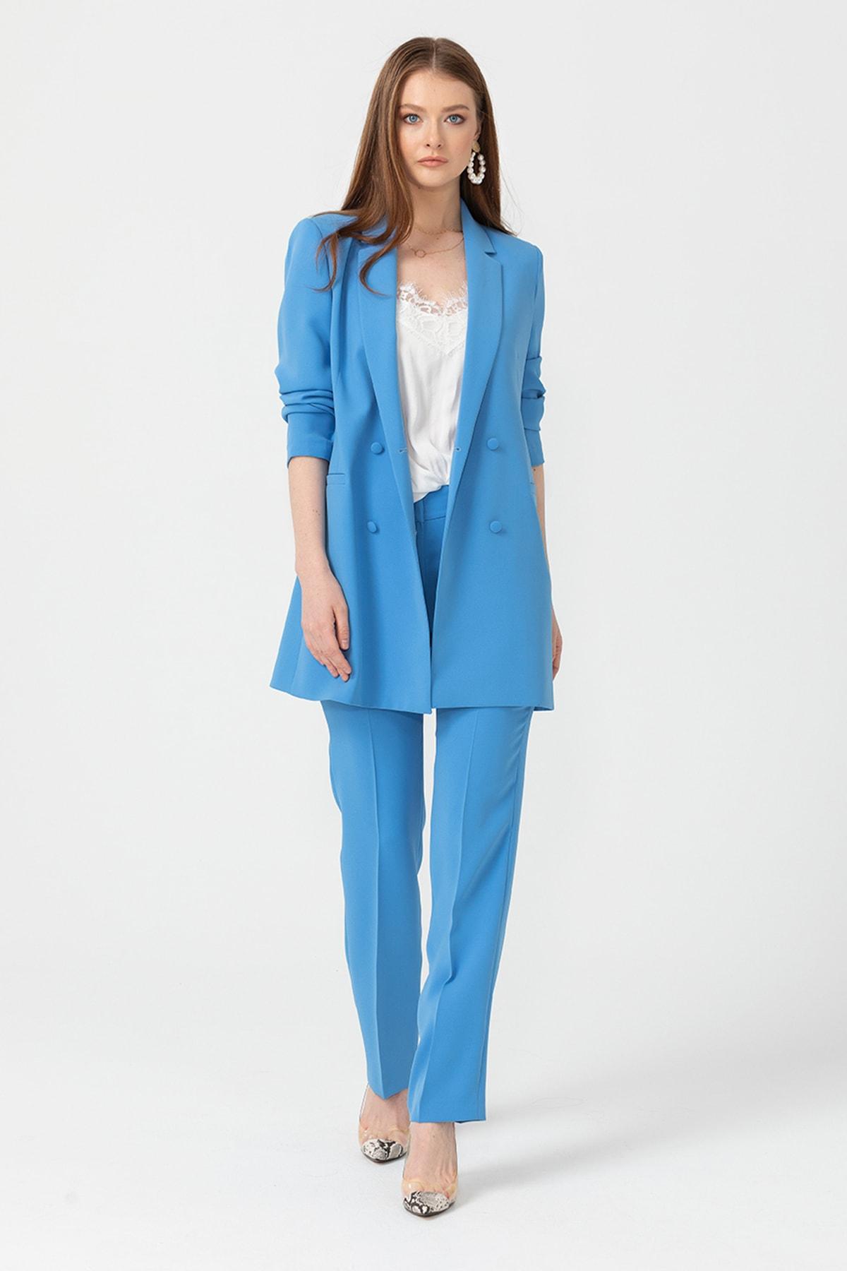 Seçil Kadın Mavi Orta Bel Klasik Pantolon 10100120203039