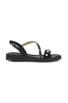 Sofia Baldi Kadın Avelina Siyah/Gümüş Deri Incili Düz Sandalet