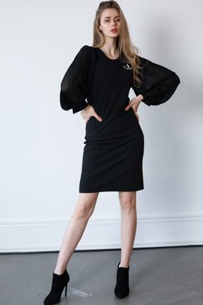 Ayhan Kolları Pliseli Bayan Elbise - 61399 Kırmızı