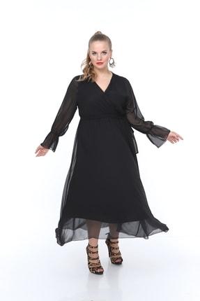 ANGELINO Kadın Şifon Kroveze Yaka Elbise