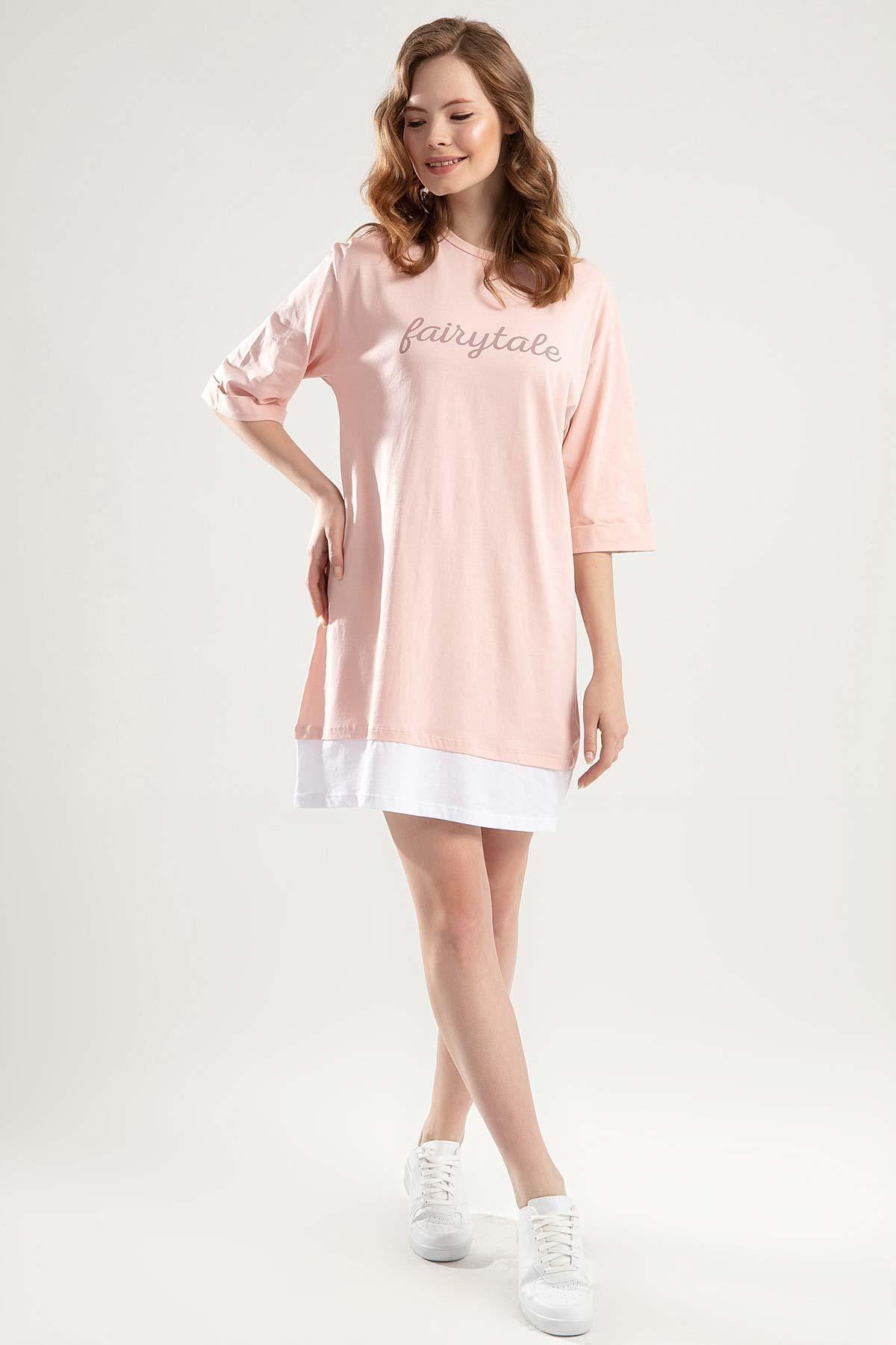 Y-London Kadın Pudra Duble Kol Biyeli Tişört Elbise Y20S110-4155