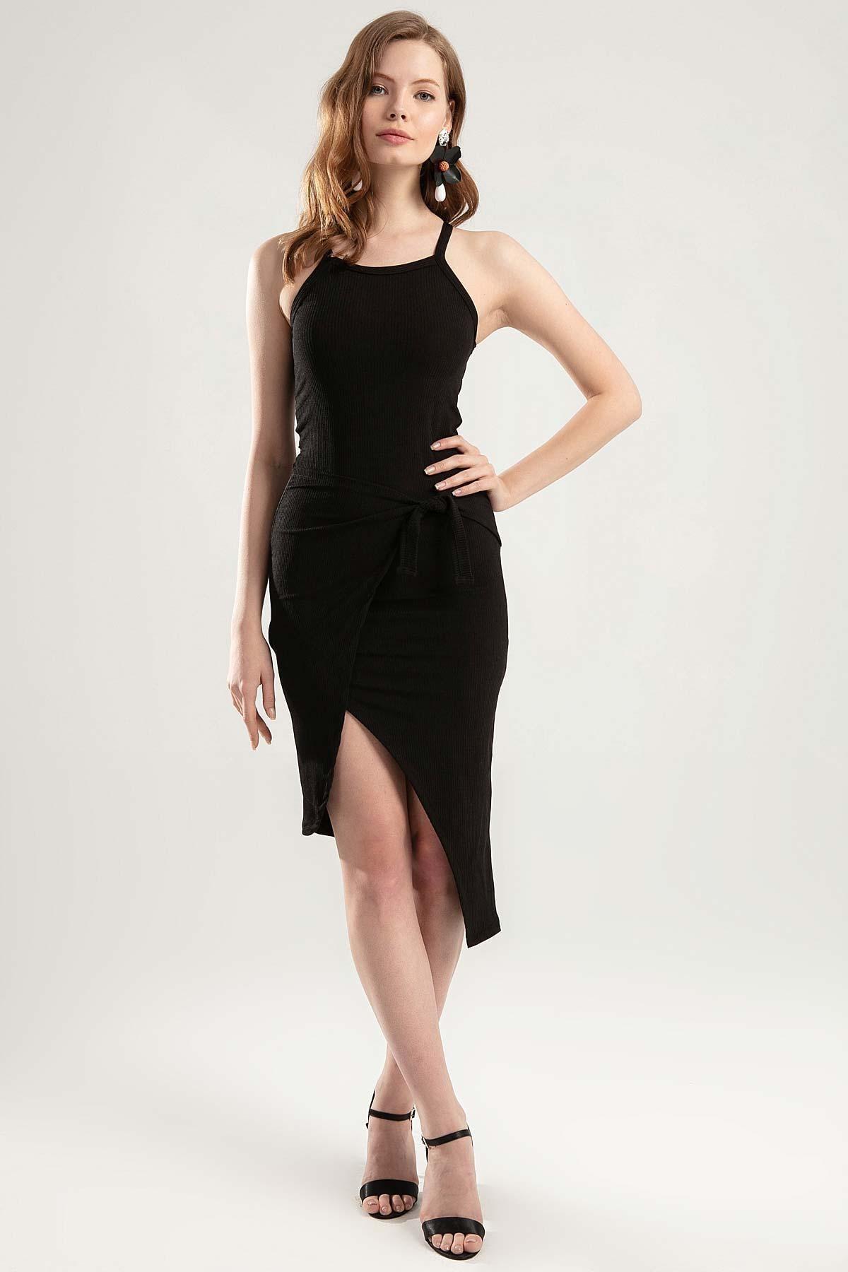 Y-London Kadın Siyah Askılı Çapraz Bağlamalı Elbise Y20S134-0067