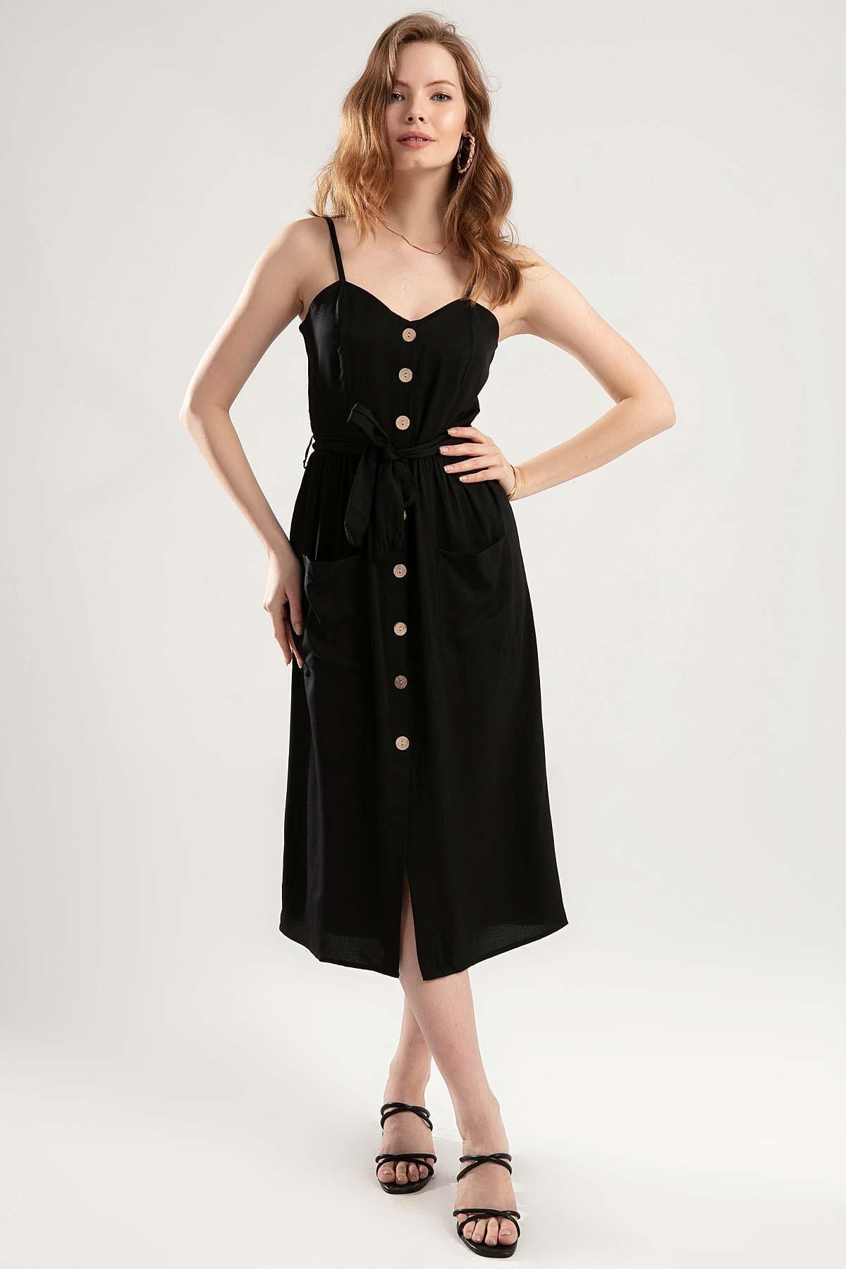 Y-London Kadın Siyah Askılı Düğmeli Cepli Kuşaklı Elbise Y20S134-1556
