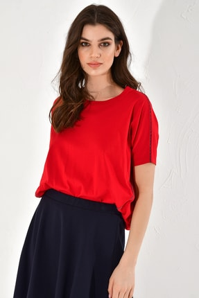 Hanna's Kadın Bluz Kontrast Dikiş Detaylı